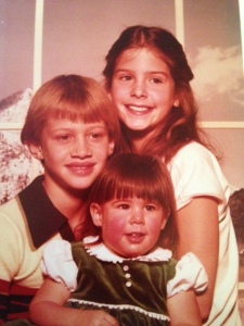 The crew circa 1980. Older brother Dan, older sister Holly, and me.